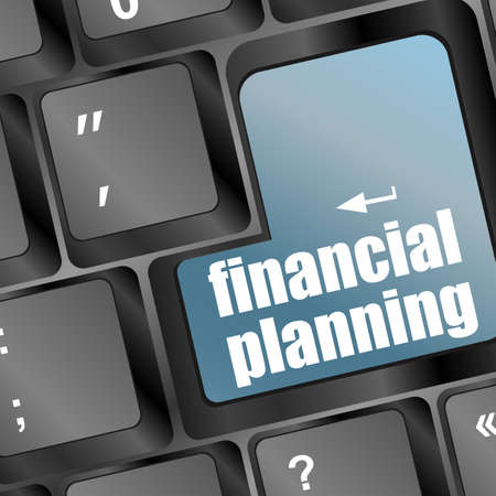 planning: keyboard with blue financial planning button