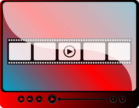 video media player with cinema film strips and play button
