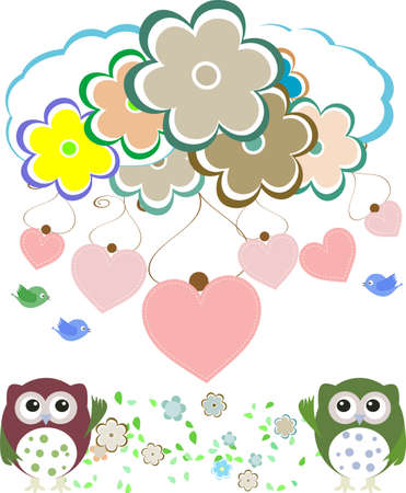 owls, birds, flowers, cloud and love heart photo
