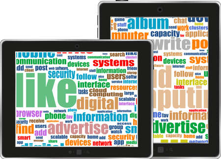 functionality: Digital tablet with mobile technology tag cloud concept on screen Stock Photo