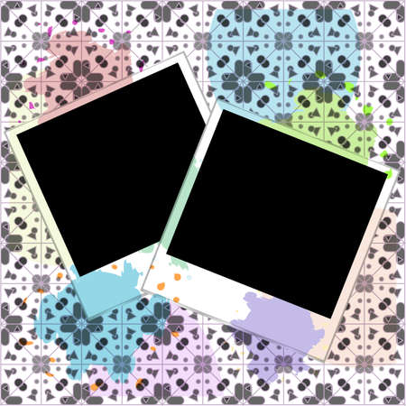 blank frames for photo on the grunge background with blots photo