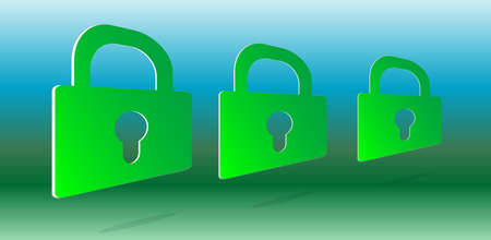 3d green padlock set on abstract background Stock Photo - 17781360