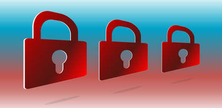 Security concept: set of red padlocks on abstract background photo