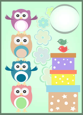 happy birthday card with cute owls and gift boxes photo