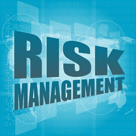 Management concept: words Risk management on digital screen photo