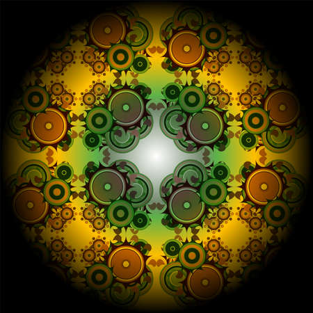 Vivid mandala wheel, digital fractal artwork, abstract illustration Stock Illustration - 17782331