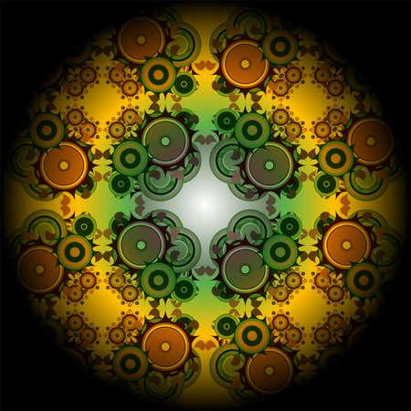 Vivid mandala wheel, digital fractal artwork, abstract illustration Stock Illustration - 17782331