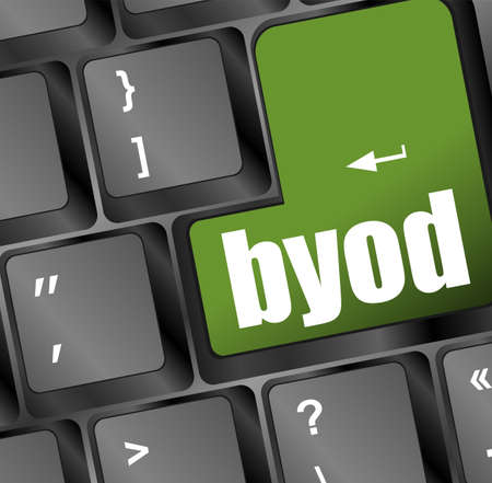 Byod green keyboard key of a notebook computer Stock Photo