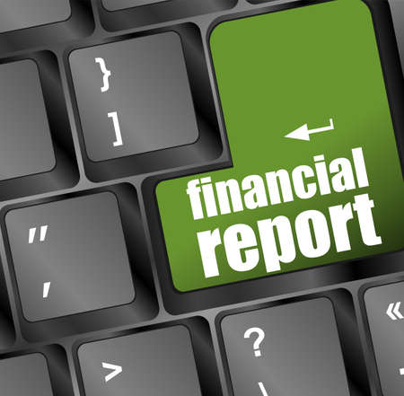 keyboard with green financial report button photo