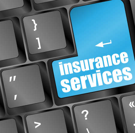 Keyboard with insurance services button, internet concept Stock Photo - 17782228