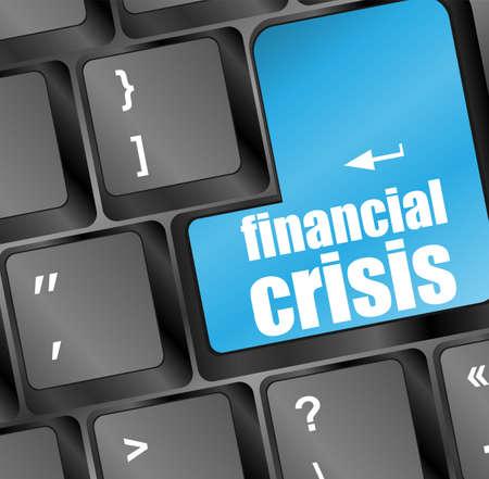 financial crisis key showing business insurance concept photo