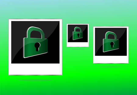 Set of empty photos and padlock on abstract green background photo