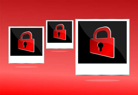 Set of empty photos with padlock on red background photo