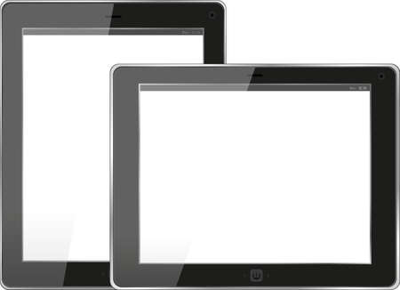 Tablet computer. Black frame tablet pc with screen. isolated on white background photo