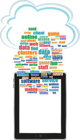 Digital tablet with mobile technology tag cloud concept on screen photo