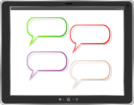 empty word bubble on tablet pc screen. business concept photo