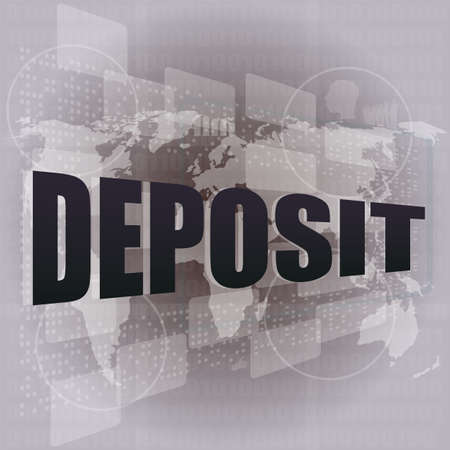 bail: touch screen interface with deposit word