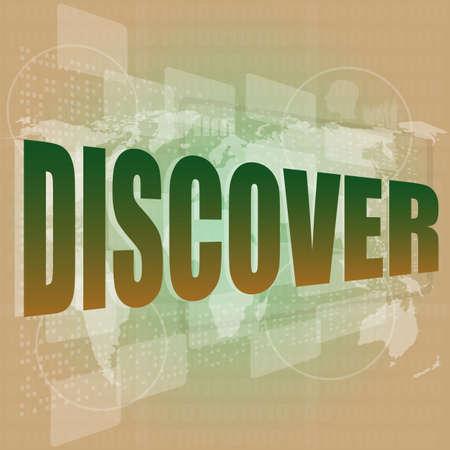 descubrir: palabra concepto social descubrir en fondo digital