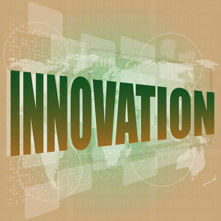 business concept  word innovation on digital touch screen photo