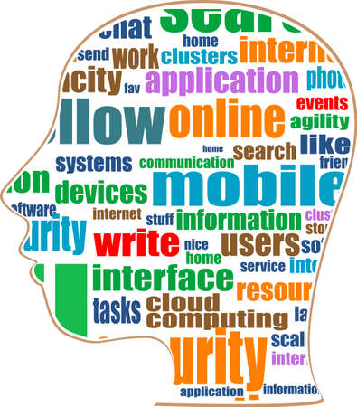 textual: Head with the words on the topic of social networking and media Stock Photo