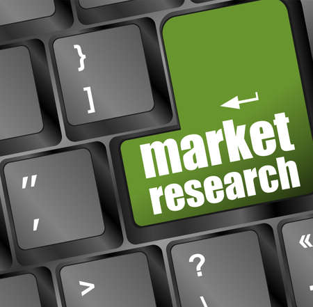market research word button on keyboard with soft focus photo