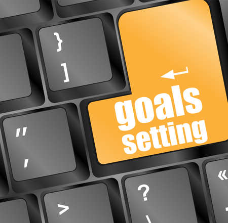 Goals setting button on keyboard with soft focus photo