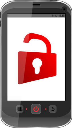 smartphone with opened red padlock on display. Mobile security concept Stock Photo - 17782343