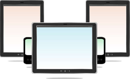 Tablet computer. Black frame tablet pc with screen. isolated on white background Stock Photo - 17782382