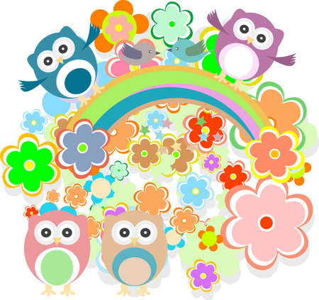 Cute colorful floral pattern with owls, flowers and bird Stock Photo - 17782553