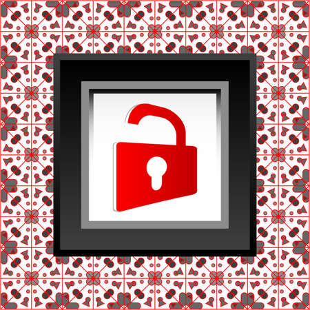 protect icon - red opened padlock icon Stock Photo - 17782561