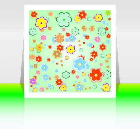 Abstract flyer or cover design with spring flowers photo