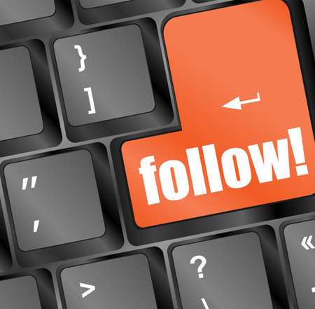 Social media or social network concept: Keyboard with follow button Stock Photo - 17782499