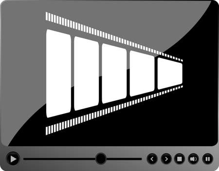 video movie player interface with film strip and metal buttons photo