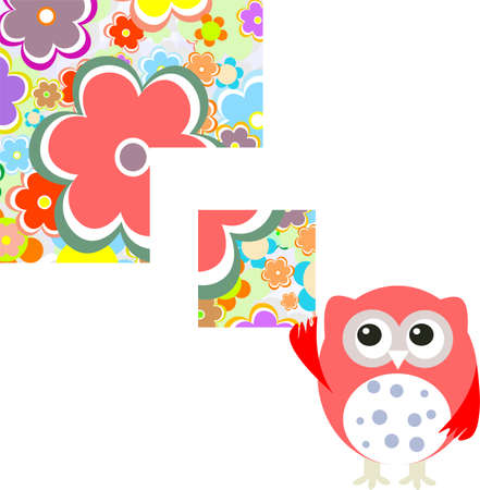 Seamless pattern with flowers and owl background Stock Photo - 17782394
