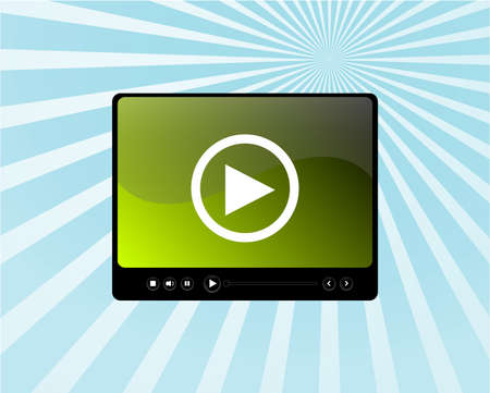 Video media player skin on blue sun ray background photo