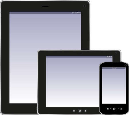 Tablet PC and smartphone isolated on white background Stock Photo - 17915279