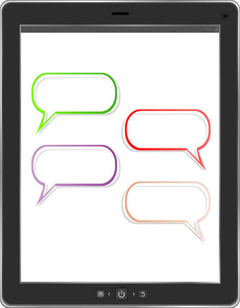 speech bubble on black tablet social network concept photo