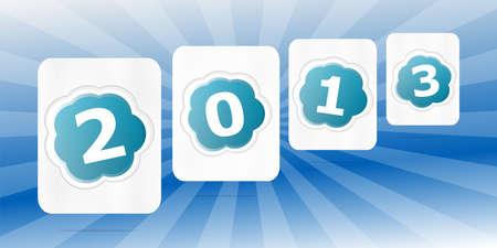 Nuevos fondos A�o de color con rayo azul y la palabra 2013 Foto de archivo - 17918303