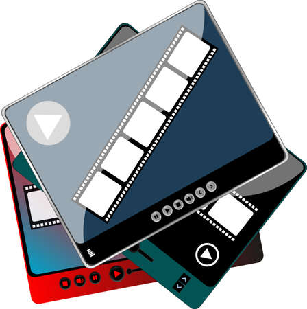 media player with extra controls in different colors - digital set photo