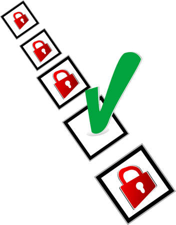 Check box with red and green check mark Stock Photo - 17915718