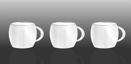 white cup set on abstract black background Stock Photo - 18075934