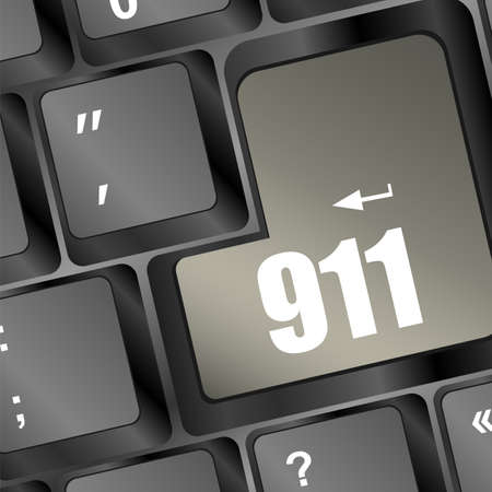 Computer keyboard with the 911 sign Stock Photo - 18075942