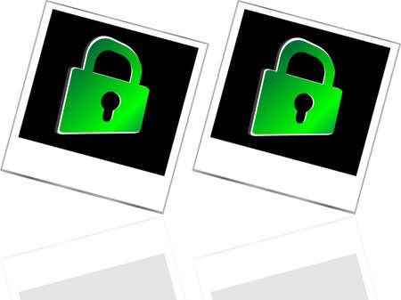 Set of empty photos and green padlock on abstract white background photo