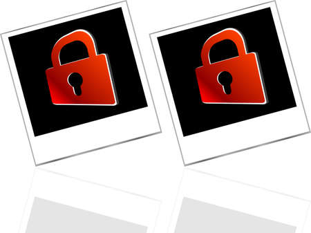 Set of empty photos and red padlock on abstract white background photo