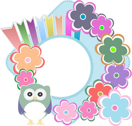 Seamless retro flowers and owl kids illustration background pattern illustration