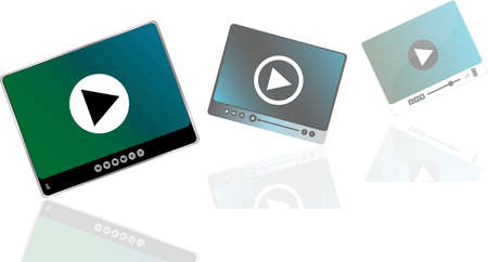 Media player set with play button on abstract background photo