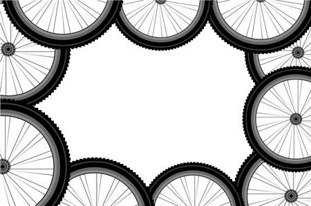 Seamless bicycle wheels pattern photo