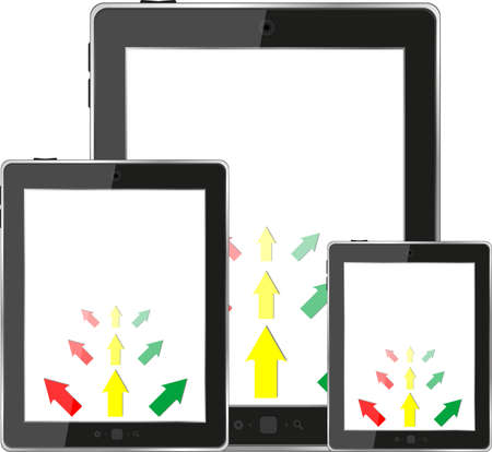 cloud computing concept with tablet PC set and business arrows photo