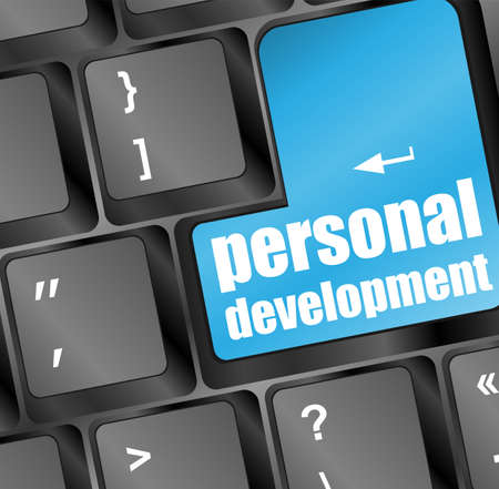 Keyboard with blue enter button personal development Stock Photo - 18218652