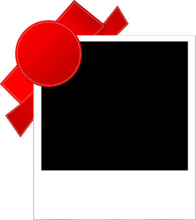 confines: photo frames with red ribbon Stock Photo